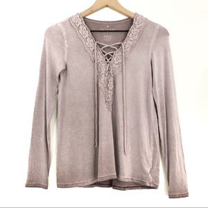 AEO | Soft & Sexy T Lavender Lace Front Top